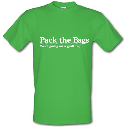 CHEAP Pack the Bags We're Going on a Guilt Trip male t-shirt. 728991246 – Novelty T-Shirts