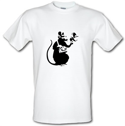 CHEAP Banksy Listening Rat male t-shirt. 745614012 – Novelty T-Shirts