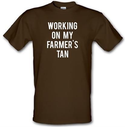 CHEAP Working On My Farmer's Tan male t-shirt. 748647394 – Novelty T-Shirts