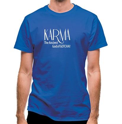 CHEAP Karma – The ancient god of Gotcha! classic fit. 25414494921 – Novelty T-Shirts
