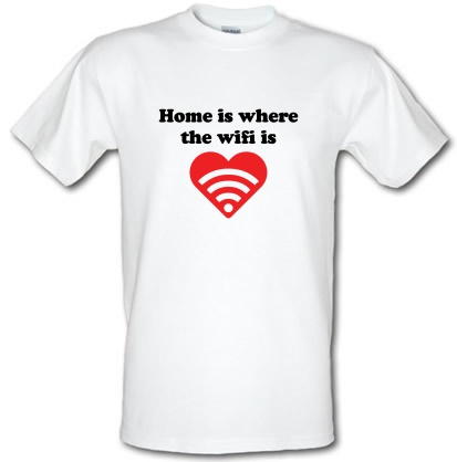 CHEAP Home Is Where The Wifi Is male t-shirt. 3679001927  Novelty T-Shirts