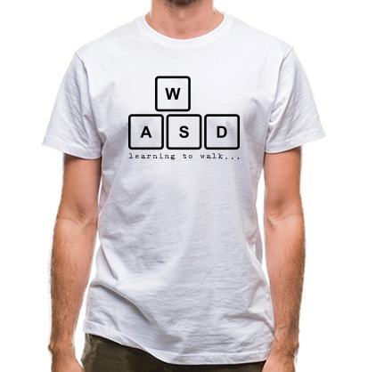CHEAP WASD Learning To Walk classic fit. 25414498727  Novelty T-Shirts