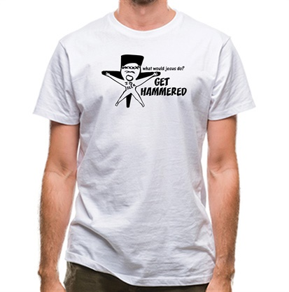 CHEAP What would jesus do? Get hammered classic fit. 25414499113  Novelty T-Shirts
