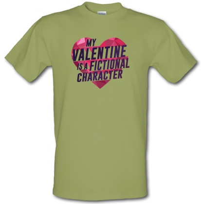 CHEAP My Valentine Is A Fictional Character male t-shirt. 3792432275  Novelty T-Shirts