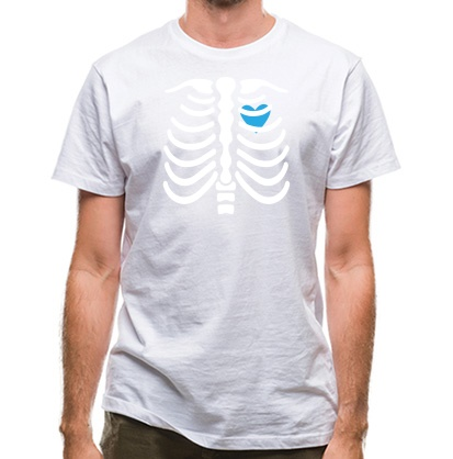 CHEAP Blue Heart Skeleton classic fit. 25414490947  Novelty T-Shirts
