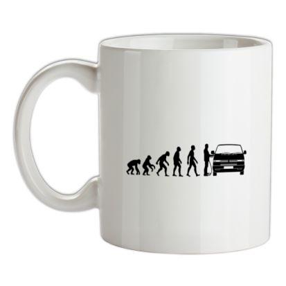 Evolution of Man T4 Campervan mug.