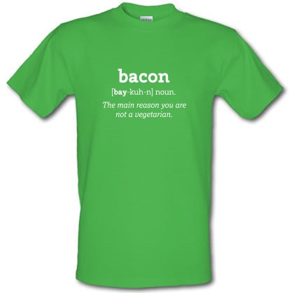 Novelty T-Shirts Bacon Definition male t-shirt.