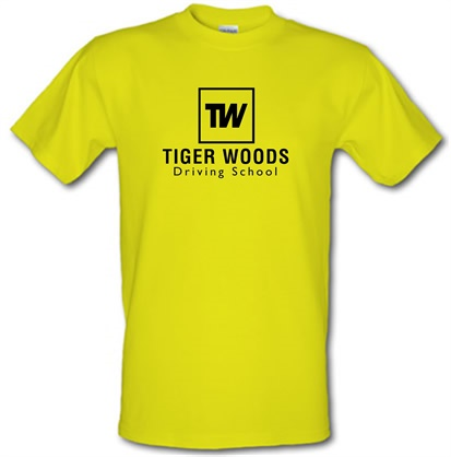 Tiger Woods Driving School male tshirt.