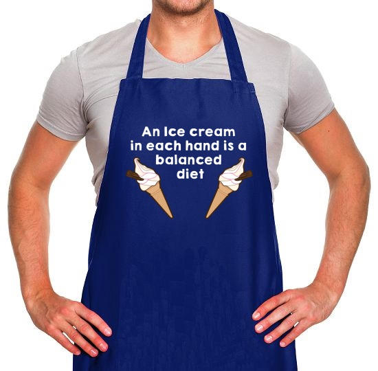 An Ice Cream In Each Hard Is A Balanced Diet Apron
