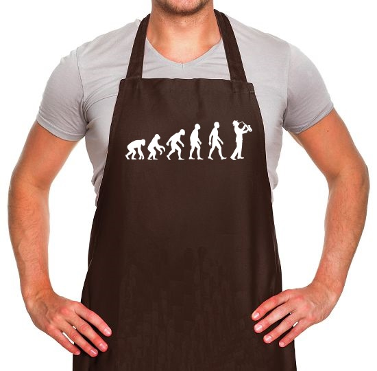 Evolution Of Man Saxophone Apron