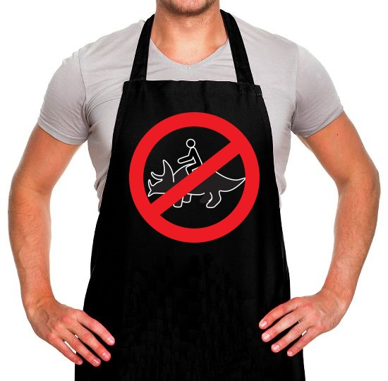 No Dinosaur Riding Apron