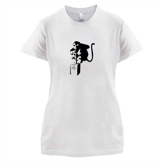 Banksy Monkey Detonator t-shirts for ladies