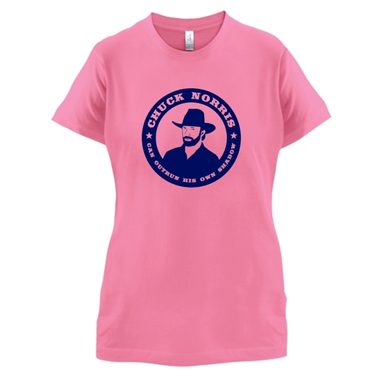Chuck Norris Can Outrun His Own Shadow t-shirts for ladies