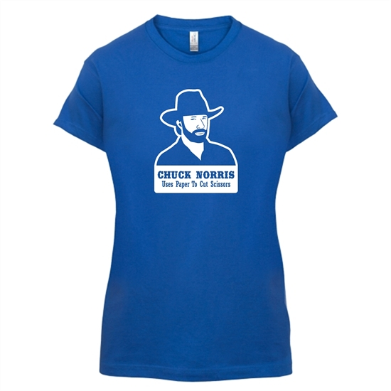 Chuck Norris Uses Paper To Cut Scissors t-shirts for ladies