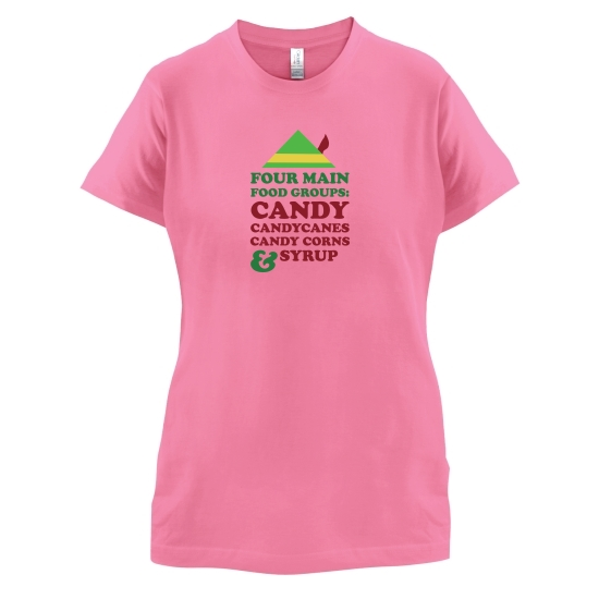 Four Main Christmas Food Groups t-shirts for ladies