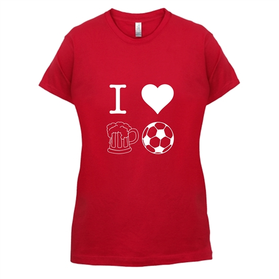 I Heart Beer and Football t-shirts for ladies
