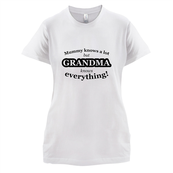 Mummy Knows A Lot, But Grandma Knows Everything t-shirts for ladies