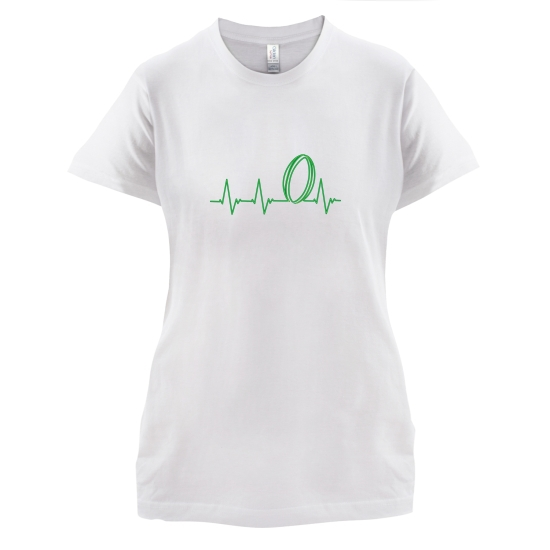 Rugby Heartbeat t-shirts for ladies