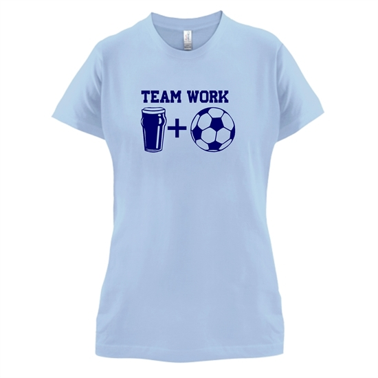 Teamwork, beer and football t-shirts for ladies