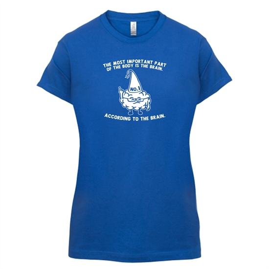 The Most Important Part Of The Body Is The Brain. According To The Brain. t-shirts for ladies