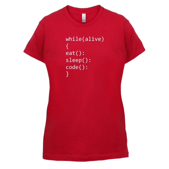 Eat, Sleep, Code t-shirts for ladies