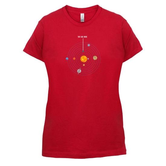 You are Here (Solar System) t-shirts for ladies