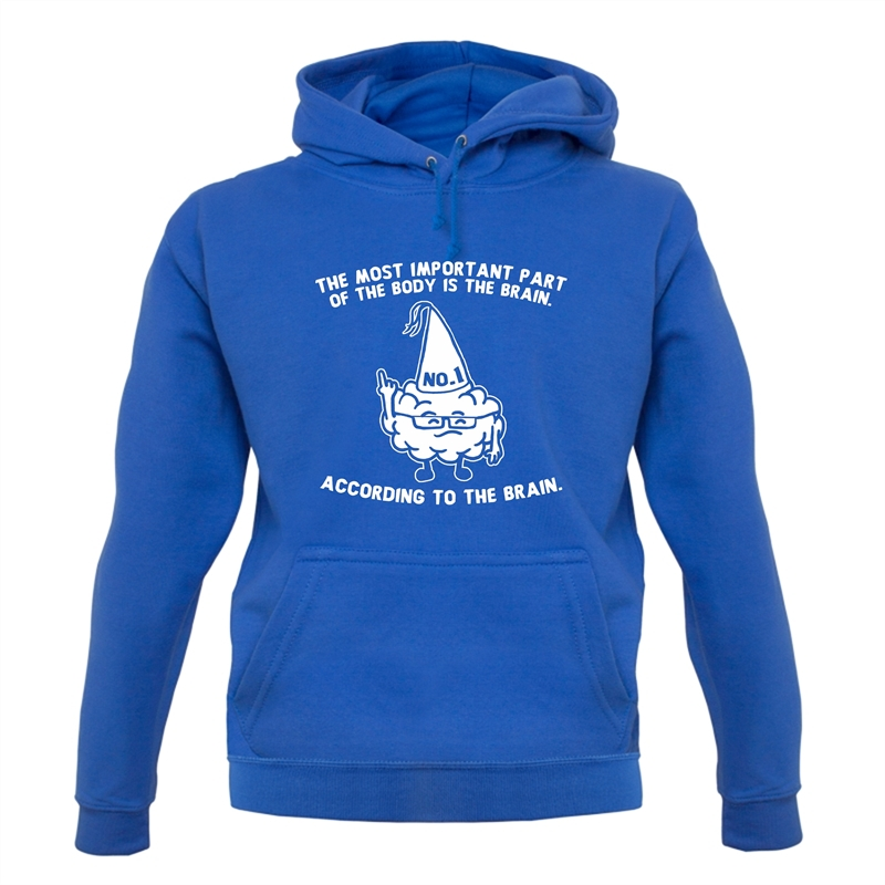 The Most Important Part Of The Body Is The Brain. According To The Brain. Hoodies