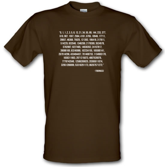 Fibonacci Quote t-shirts