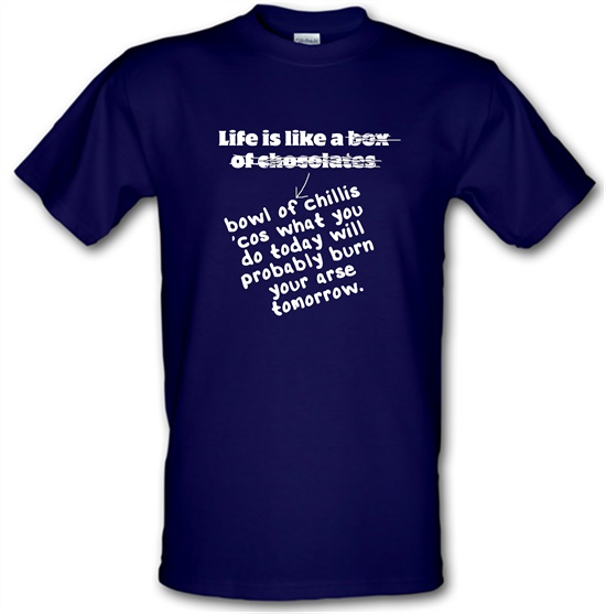 Life is like a bowl of chillies t-shirts