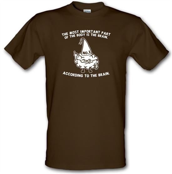 The Most Important Part Of The Body Is The Brain. According To The Brain. t-shirts