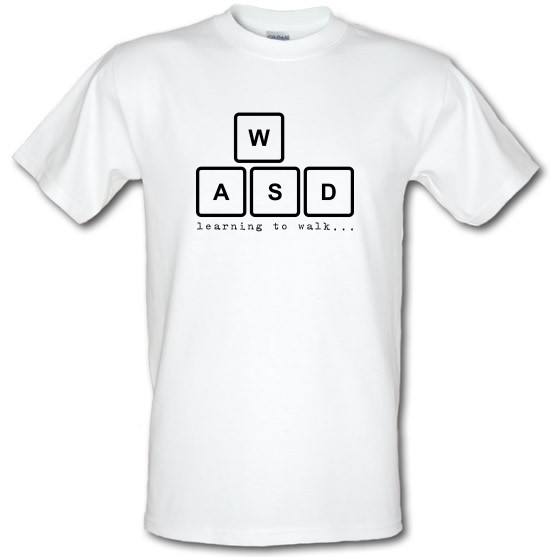 WASD Learning To Walk t-shirts