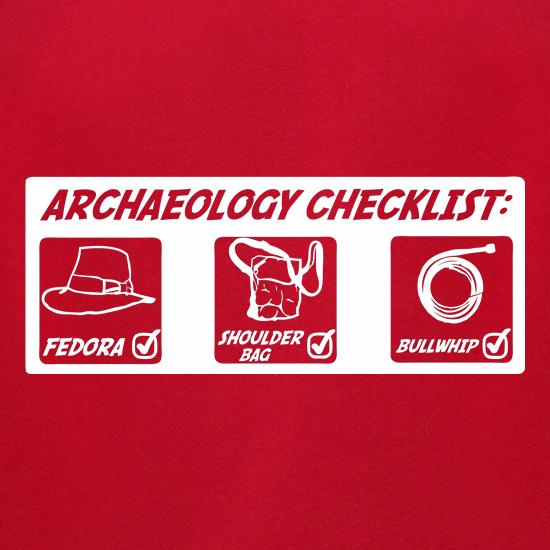 Archeology Checklist t-shirts for ladies