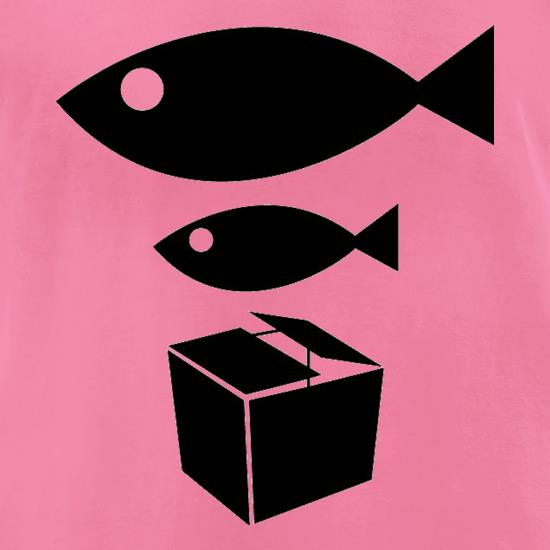 Big Fish Little Fish Cardboard Box t-shirts for ladies