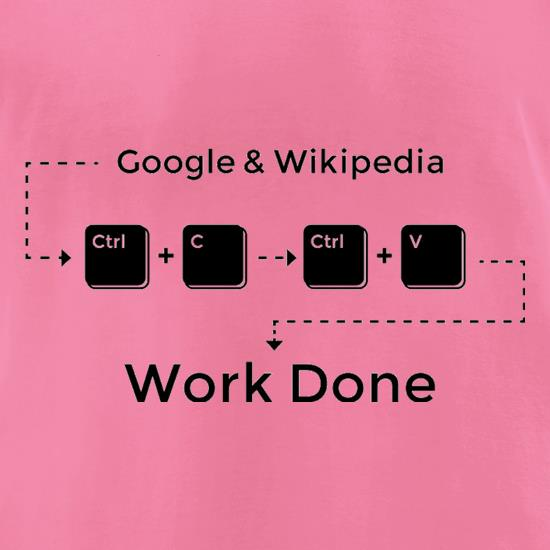 Ctrl C And Ctrl V Equals Work Done t-shirts for ladies