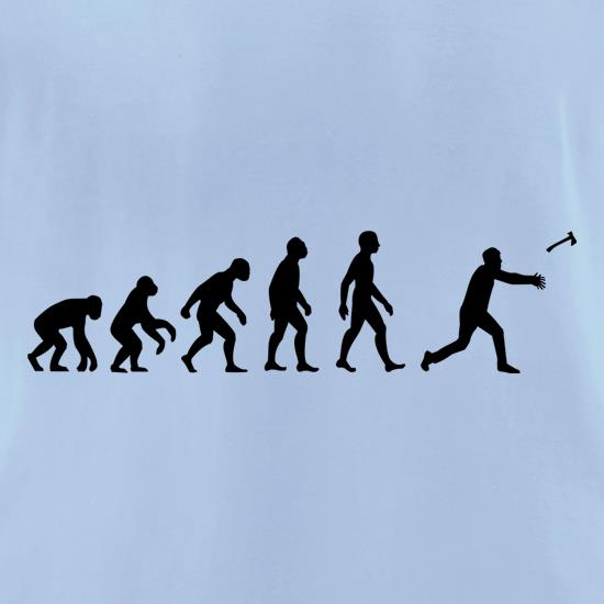Evolution Of Man Throwing Axe t-shirts for ladies