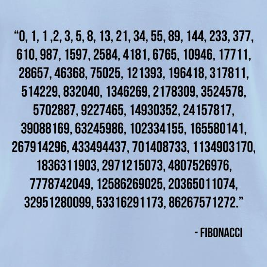 Fibonacci Quote t-shirts for ladies
