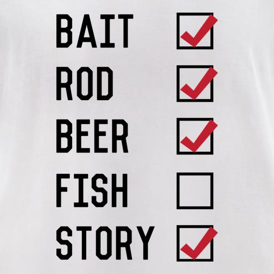 Fishing Checklist t-shirts for ladies