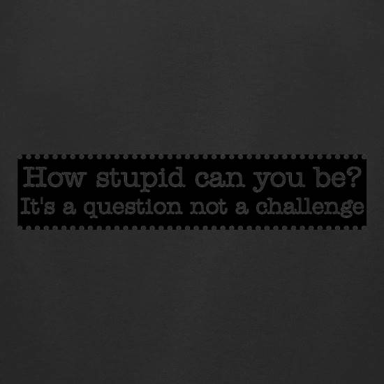 How stupid can you be - it's a question not a challenge t-shirts for ladies