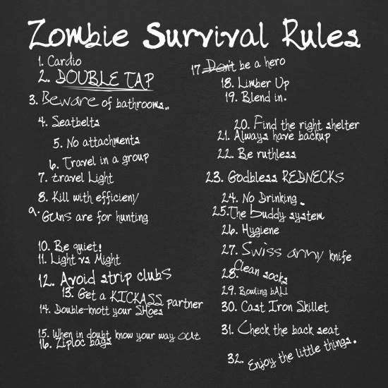 List of Zombie Rules t-shirts for ladies