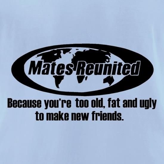 Mates reunited because you're too old, fat and ugly to make new friends t-shirts for ladies