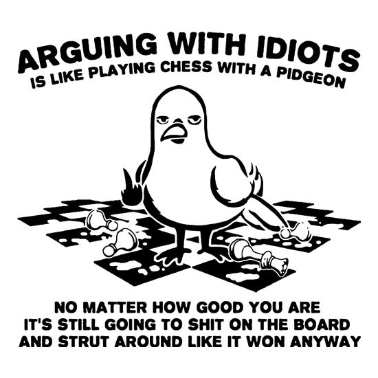 Arguing With Idiots Is Like Playing Chess With A Pigeon t-shirts