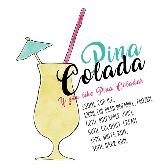 Pina Colada Recipe t-shirts
