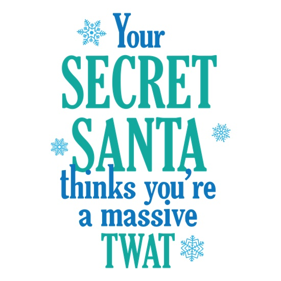 Your Secret Santa Thinks You're a Twat t-shirts