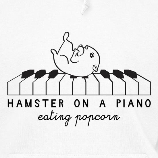 Hamster On A Piano Eating Popcorn Hoodies
