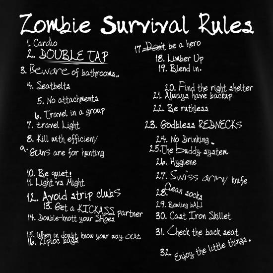 List of Zombie Rules T-Shirts for Kids