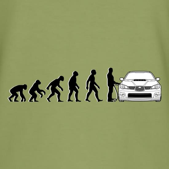 Evolution Of Man Subaru Impreza t-shirts