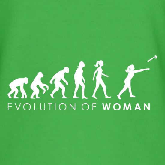 Evolution Of Woman Throwing Axe t-shirts