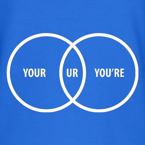 Your Ur You're t-shirts