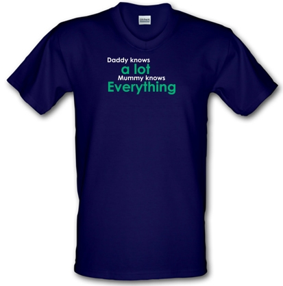 e833d950 Daddy Knows a Lot But Mummy Knows Everything V-neck T Shirt By ...