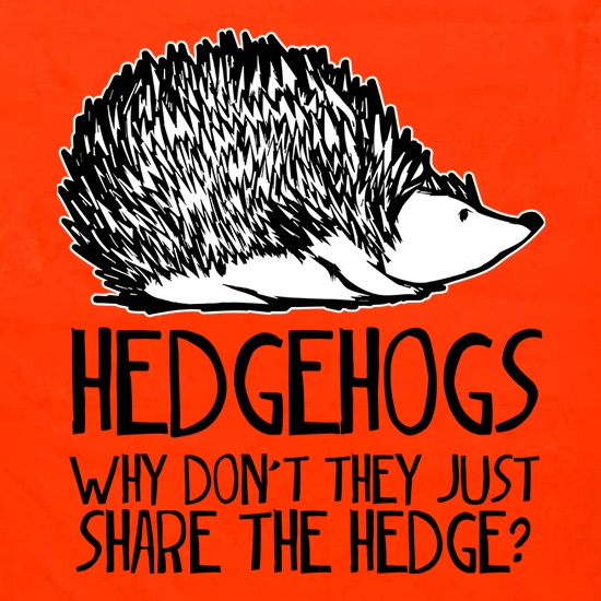 Hedgehogs : Why Don't They Just Share The Hedge t shirt